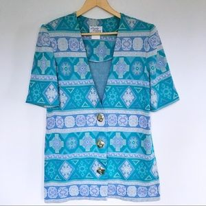 Vintage Jackets & Coats - Vintage Aztec Print Blazer Lady Carol of New York